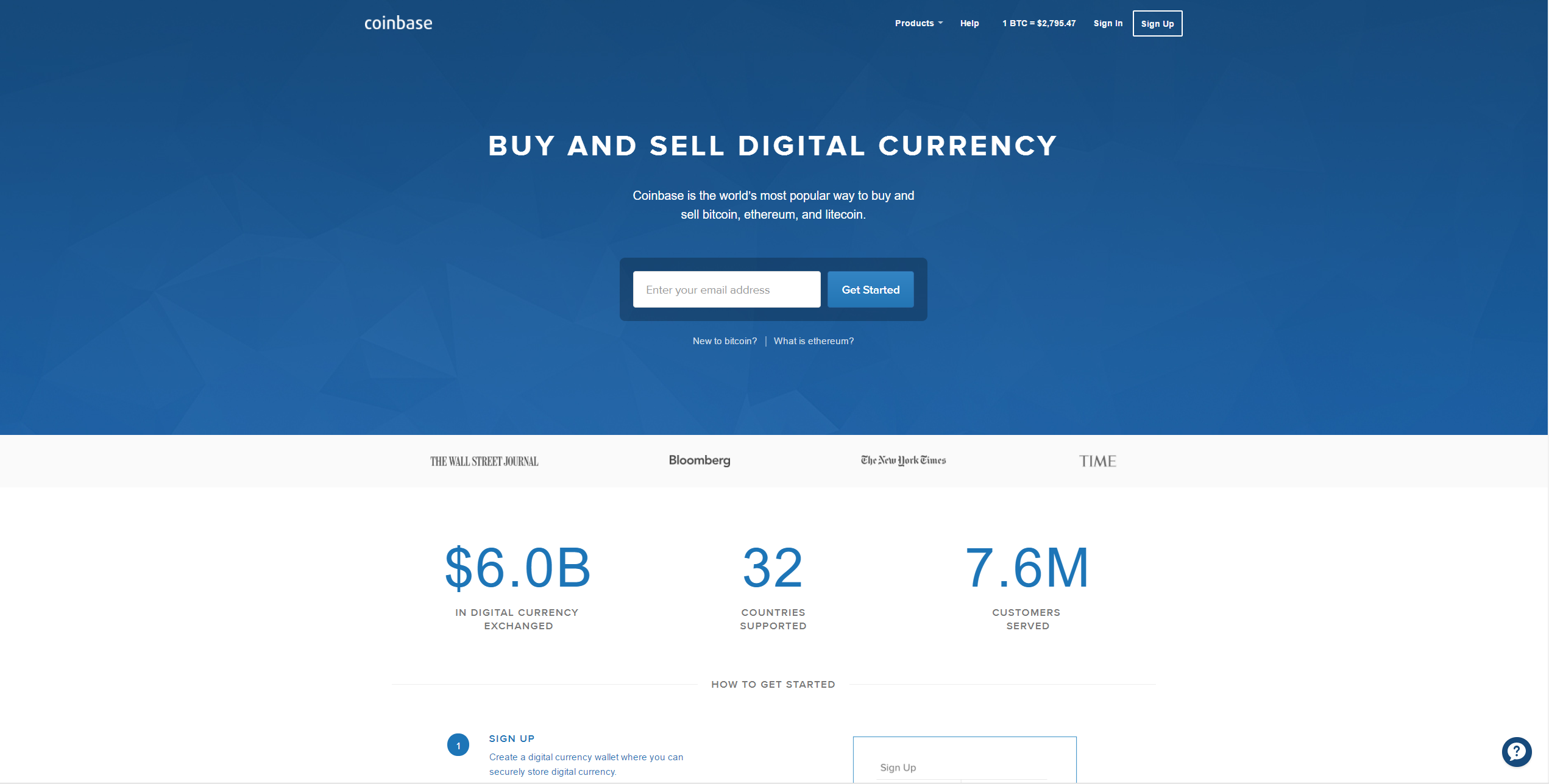 1) Go to Coinbase and follow the instructions to register an account.